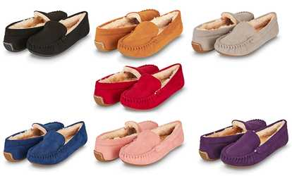 4c4553828e7f Shop Groupon Floopi Women s Faux Fur Lined Basic Moccasin Slipper with  Memory Foam