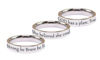 Pink Box Solid Stainless Steel Comfort Fit Inspirational Ring