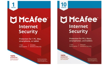 McAfee Internet Security 2018 OneYear License Downloadable Software For One or Ten Devices