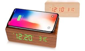 Réveil chargeur en bois