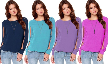 Women's Chiffon SemiSheer SplitSleeve Blouse: One $15.90 or Two $26