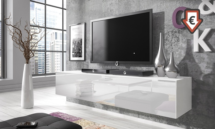 Tv Meubel In Wit Hoogglans.Zwevend Hoogglans Tv Meubel Groupon