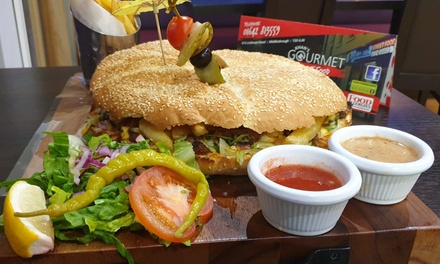 10Inch Burger and Chips at Khan's Gourmet Street Food