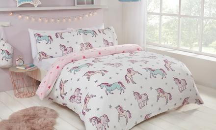 Pieridae Unicorn Cosy Fleece Reversible Duvet Set