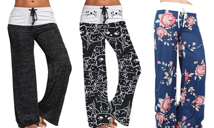 One or Two Pairs of Womens Casual Wide-Leg Lounge Trousers