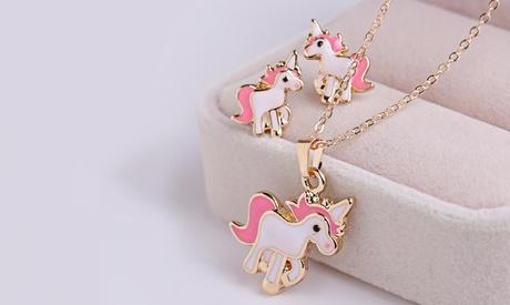1 o 2 set di collana e orecchini a forma di unicorno
