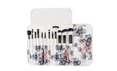Professional Makeup Brush Set with Floral Pouch (12-Piece)