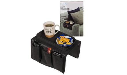 1 o 2 organiser per il bracciolo del divano, con 5 tasche laterali e vassoio superiore
