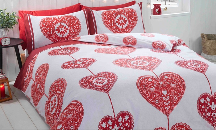Rapport Skandi Hearts Double Duvet Set 100/% Brushed Cotton Red CHEAPEST ON