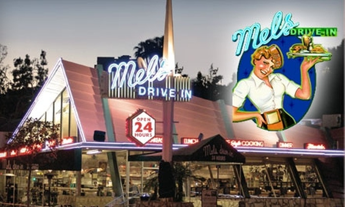 Mel's Drive-in - Multiple Locations: $7 for $15 Worth of American Fare and Drinks at Mel's Drive-in