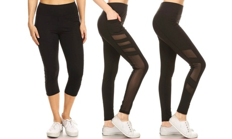 Women's High-Waist Mesh-Panel Capri or Full-Length Leggings