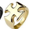 Iron Cross Stainless Steel Ring in Gold or Black Plating