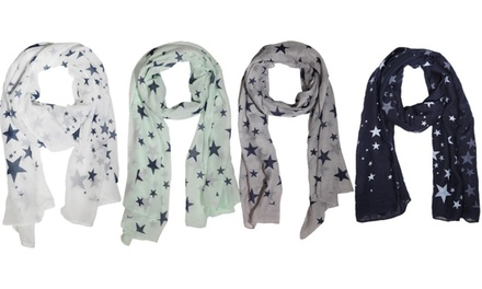 One or Two Women's Star Print Summer Scarf in Choice of Colours