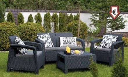 Conjunto de jardín con cojines, sillón, sofá y mesa