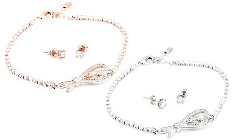 1 o 2 conjuntos de pulsera y pendientes Georgette adorandos con cristales de Swarovski®