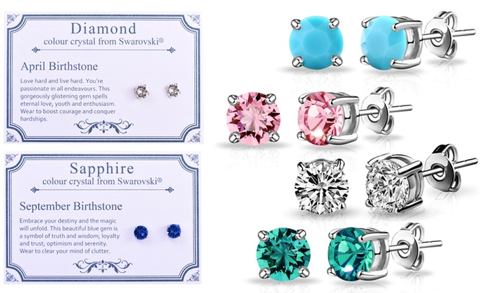 Philip Jones Birthstone Earrings in Choice of Design with Crystals from Swarovski® from £3.98