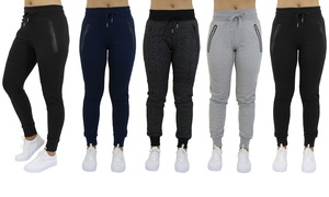 Women's Slim-Fit Joggers With Tech Zipper Pockets (3-Pack)