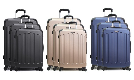 Set 3 valises en ABS, 4 roues multi directionnelles