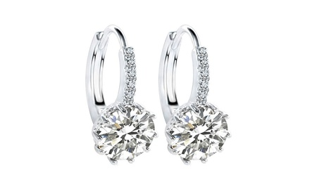 5.00 CTW Lab Created Brilliant Cut Sapphire Earrings with Cubic Zirconia Accents