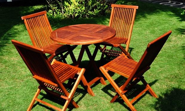 salon jardin teck brut ou huil groupon shopping. Black Bedroom Furniture Sets. Home Design Ideas