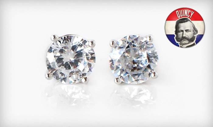 2-Carat CZ Stud Earrings: One or Three Pairs of 2-Carat Sterling-Silver CZ Stud Earrings (Up to 96% Off). Free Shipping.