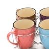Ceramic Mug Set with Metal Holder (5-Piece)