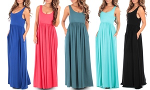 Women's Ruched Maxi Dress with Pockets