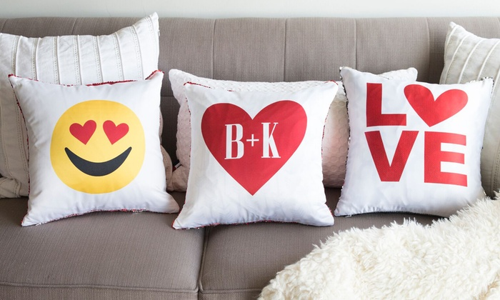 Qualtry: One, Two, Three, Five, or 10 Personalized Love Themed Two-Tone Sequin Pillow Covers from Qualtry (Up to 80% Off)