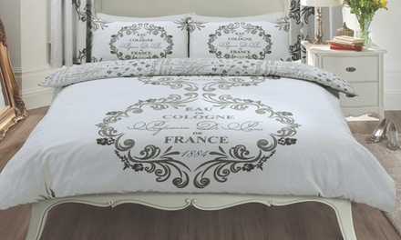 Reversible Paris Script Duvet Set in Choice of Colour and Size