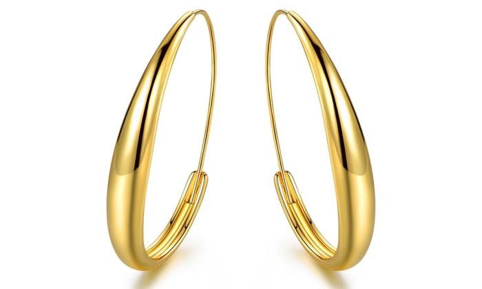 Up To 78 Off On 18k Gold Plated Hoop Earrings Groupon Goods