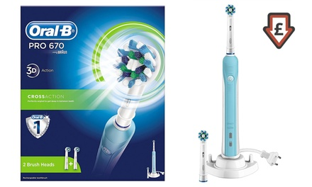 Braun OralB Pro 670 Electric Toothbrush with Two Heads and an Optional Shaver Adapter
