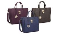 Groupon.com deals on Dasein MMK Collection Padlock Satchel Handbag