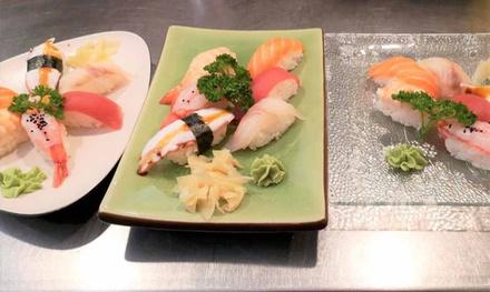 Menu sushi con dolce e vino
