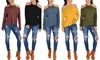 Lyss Loo Women's Long Sleeve Cold Shoulder Top: Lyss Loo Women's Long Sleeve Cold Shoulder Top