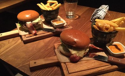 image for Burger Meal with Wine or Beer for Two or Four at The Lock Kitchen and Bar @ DoubleTree Hilton Leeds(Up to 60% Off)