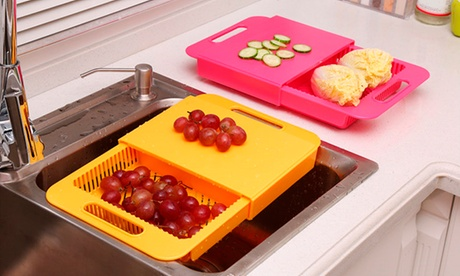 Tagliere da lavandino con cestello per colare disponibile in 4 colori