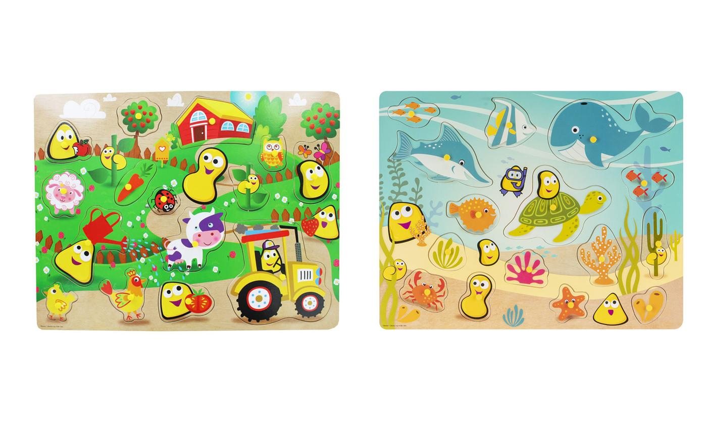 RMS CBeebies Large Wooden Shape Puzzle Ocean or Farm