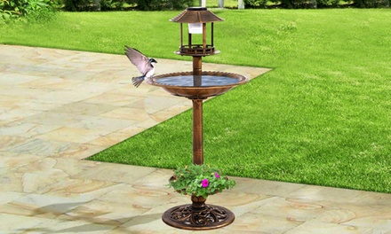 $39 for an Ornamental Garden Bird Feeding Station with Solar LED Light