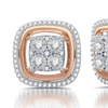 1/2 CTTW Diamond Stud Earring in Sterling Silver With Rose Gold Plating By DeCarat