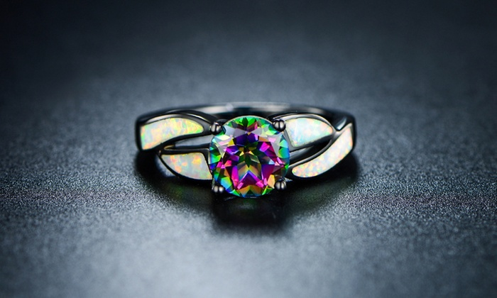 Genuine Mystic Topaz and Fiery White Opal Ring