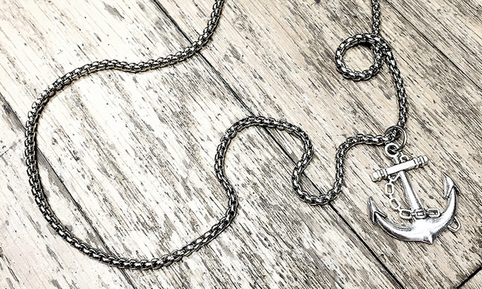 Men's Anchor Necklace in Stainless Steel