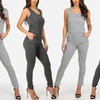 Junior's Gray Slip-On Jumpsuit with Pockets (Sizes S & M)