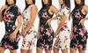 Women's Short Sleeve or Sleeveless Floral Stretchy Bodycon Dress