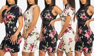 8bc6ad31c Women's Short Sleeve or Sleeveless Floral Stretchy Bodycon Dress
