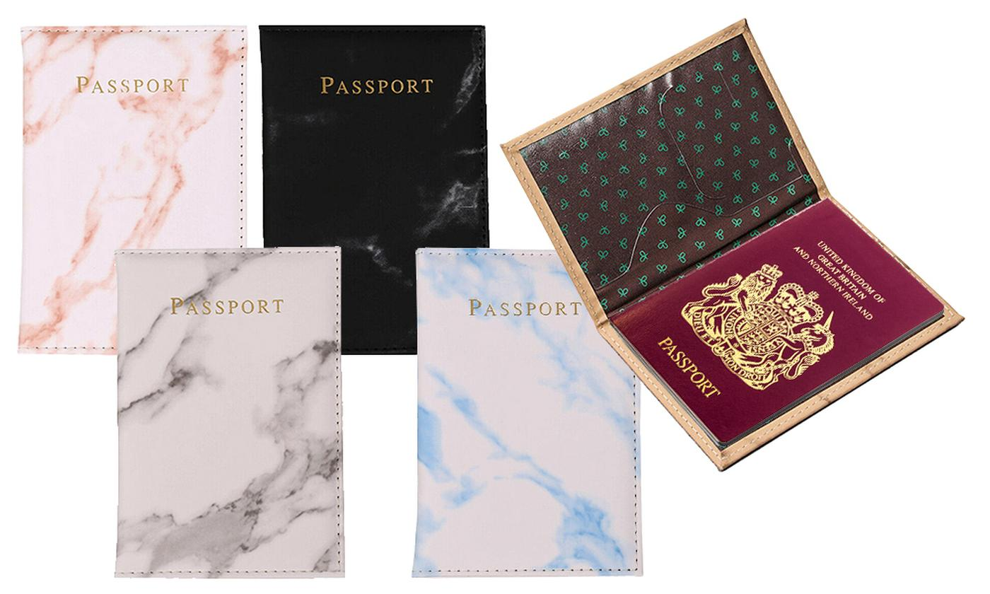 Up to Four Marble Print Passport Holders