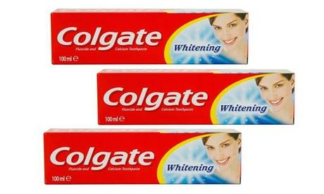 Pack de 3, 6 o 12 pastas de dientes blanqueantes Colgate Whitening de 100ml