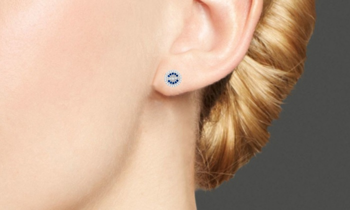 64a946e3f Cubic Zirconia and Blue Spinel Evil Eye Earrings in Sterling Silver ...