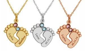 Up to 86% Off Baby Feet with Crystals and Engraved Necklace