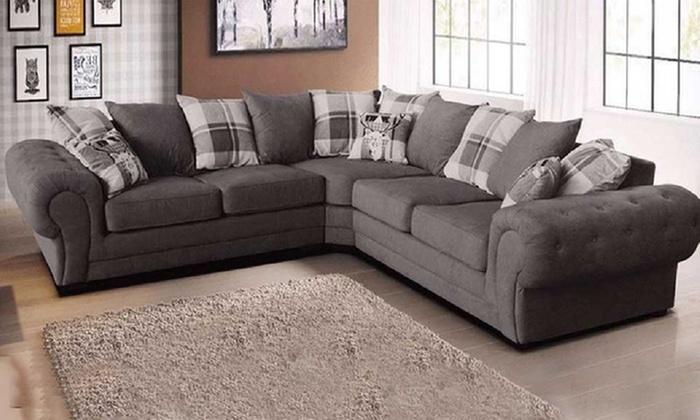 Fabric Chesterfield Corner Sofa Groupon
