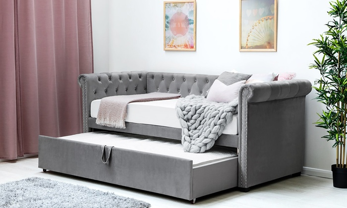 Chesterfield Velvet Day Bed with Guest Trundle and One or Two Optional Spring Mattresses